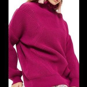 Topshop Sweaters - Topshop Fuschia Frill Neck Sweater